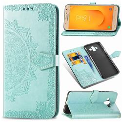 Embossing Imprint Mandala Flower Leather Wallet Case for Samsung Galaxy J7 Duo - Green
