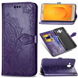 Embossing Imprint Mandala Flower Leather Wallet Case for Samsung Galaxy J7 Duo - Purple