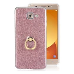 Luxury Soft TPU Glitter Back Ring Cover with 360 Rotate Finger Holder Buckle for Samsung Galaxy J7 Max G615F - Pink