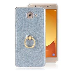 Luxury Soft TPU Glitter Back Ring Cover with 360 Rotate Finger Holder Buckle for Samsung Galaxy J7 Max G615F - Blue