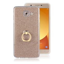 Luxury Soft TPU Glitter Back Ring Cover with 360 Rotate Finger Holder Buckle for Samsung Galaxy J7 Max G615F - Golden