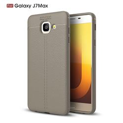 Luxury Auto Focus Litchi Texture Silicone TPU Back Cover for Samsung Galaxy J7 Max G615F - Gray