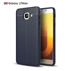 Luxury Auto Focus Litchi Texture Silicone TPU Back Cover for Samsung Galaxy J7 Max G615F - Dark Blue