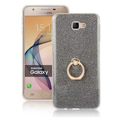 Luxury Soft TPU Glitter Back Ring Cover with 360 Rotate Finger Holder Buckle for Samsung Galaxy J7 Prime G610 - Black