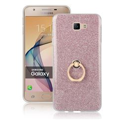 Luxury Soft TPU Glitter Back Ring Cover with 360 Rotate Finger Holder Buckle for Samsung Galaxy J7 Prime G610 - Pink
