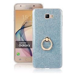 Luxury Soft TPU Glitter Back Ring Cover with 360 Rotate Finger Holder Buckle for Samsung Galaxy J7 Prime G610 - Blue