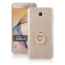 Luxury Soft TPU Glitter Back Ring Cover with 360 Rotate Finger Holder Buckle for Samsung Galaxy J7 Prime G610 - Golden
