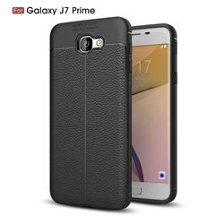 Luxury Auto Focus Litchi Texture Silicone TPU Back Cover for Samsung Galaxy J7 Prime G610 - Black