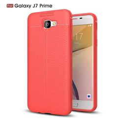 Luxury Auto Focus Litchi Texture Silicone TPU Back Cover for Samsung Galaxy J7 Prime G610 - Red