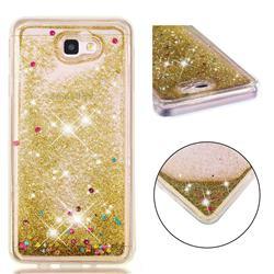 Dynamic Liquid Glitter Quicksand Sequins TPU Phone Case for Samsung Galaxy J7 Prime G610 - Golden
