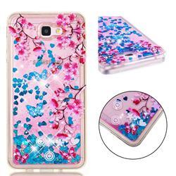 Blue Plum Blossom Dynamic Liquid Glitter Quicksand Soft TPU Case for Samsung Galaxy J7 Prime G610