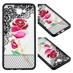 Rose Lace Diamond Flower Soft TPU Back Cover for Samsung Galaxy J7 Prime G610
