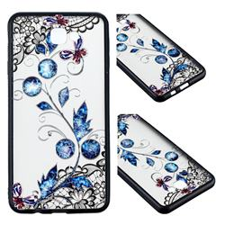 Butterfly Lace Diamond Flower Soft TPU Back Cover for Samsung Galaxy J7 Prime G610