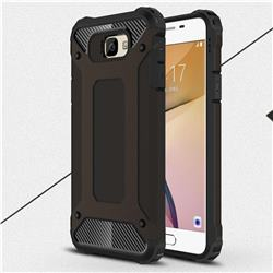 King Kong Armor Premium Shockproof Dual Layer Rugged Hard Cover for Samsung Galaxy J7 Prime G610 - Black Gold