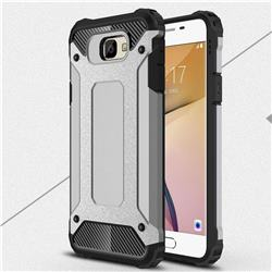 King Kong Armor Premium Shockproof Dual Layer Rugged Hard Cover for Samsung Galaxy J7 Prime G610 - Silver Grey