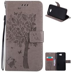 Embossing Butterfly Tree Leather Wallet Case for Samsung Galaxy J7 Prime G610 - Grey