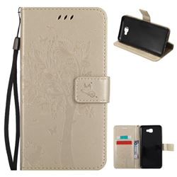 Embossing Butterfly Tree Leather Wallet Case for Samsung Galaxy J7 Prime G610 - Champagne