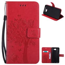 Embossing Butterfly Tree Leather Wallet Case for Samsung Galaxy J7 Prime G610 - Red