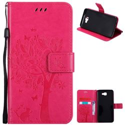 Embossing Butterfly Tree Leather Wallet Case for Samsung Galaxy J7 Prime G610 - Rose
