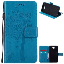 Embossing Butterfly Tree Leather Wallet Case for Samsung Galaxy J7 Prime G610 - Blue