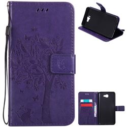 Embossing Butterfly Tree Leather Wallet Case for Samsung Galaxy J7 Prime G610 - Purple