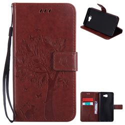 Embossing Butterfly Tree Leather Wallet Case for Samsung Galaxy J7 Prime G610 - Brown