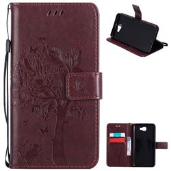 Embossing Butterfly Tree Leather Wallet Case for Samsung Galaxy J7 Prime G610 - Coffee