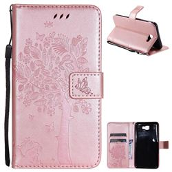 Embossing Butterfly Tree Leather Wallet Case for Samsung Galaxy J7 Prime G610 - Rose Pink