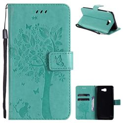 Embossing Butterfly Tree Leather Wallet Case for Samsung Galaxy J7 Prime G610 - Cyan