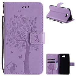 Embossing Butterfly Tree Leather Wallet Case for Samsung Galaxy J7 Prime G610 - Violet