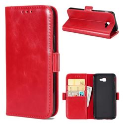 Luxury Crazy Horse PU Leather Wallet Case for Samsung Galaxy J7 Prime G610 - Red