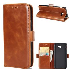 Luxury Crazy Horse PU Leather Wallet Case for Samsung Galaxy J7 Prime G610 - Brown