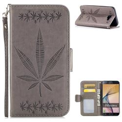 Intricate Embossing Maple Leather Wallet Case for Samsung Galaxy J7 Prime G610 - Gray