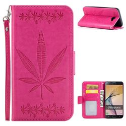 Intricate Embossing Maple Leather Wallet Case for Samsung Galaxy J7 Prime G610 - Rose