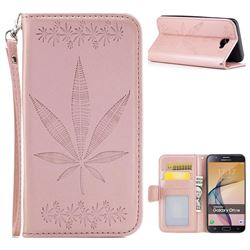 Intricate Embossing Maple Leather Wallet Case for Samsung Galaxy J7 Prime G610 - Rose Gold