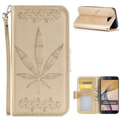 Intricate Embossing Maple Leather Wallet Case for Samsung Galaxy J7 Prime G610 - Champagne