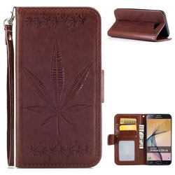 Intricate Embossing Maple Leather Wallet Case for Samsung Galaxy J7 Prime G610 - Brown