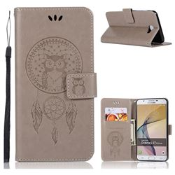 Intricate Embossing Owl Campanula Leather Wallet Case for Samsung Galaxy J7 Prime G610 - Grey
