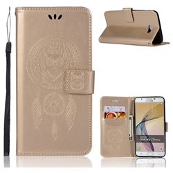 Intricate Embossing Owl Campanula Leather Wallet Case for Samsung Galaxy J7 Prime G610 - Champagne