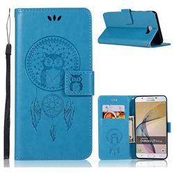Intricate Embossing Owl Campanula Leather Wallet Case for Samsung Galaxy J7 Prime G610 - Blue