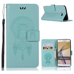 Intricate Embossing Owl Campanula Leather Wallet Case for Samsung Galaxy J7 Prime G610 - Green