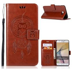 Intricate Embossing Owl Campanula Leather Wallet Case for Samsung Galaxy J7 Prime G610 - Brown