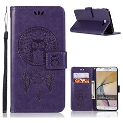 Intricate Embossing Owl Campanula Leather Wallet Case for Samsung Galaxy J7 Prime G610 - Purple