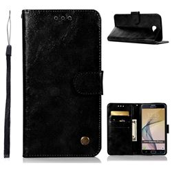 Luxury Retro Leather Wallet Case for Samsung Galaxy J7 Prime G610 - Black