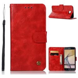 Luxury Retro Leather Wallet Case for Samsung Galaxy J7 Prime G610 - Red