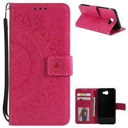 Intricate Embossing Datura Leather Wallet Case for Samsung Galaxy J7 Prime G610 - Rose Red