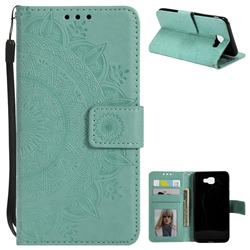 Intricate Embossing Datura Leather Wallet Case for Samsung Galaxy J7 Prime G610 - Mint Green