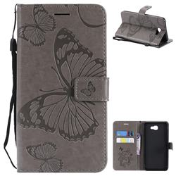 Embossing 3D Butterfly Leather Wallet Case for Samsung Galaxy J7 Prime G610 - Gray