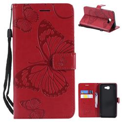 Embossing 3D Butterfly Leather Wallet Case for Samsung Galaxy J7 Prime G610 - Red