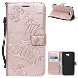 Embossing 3D Butterfly Leather Wallet Case for Samsung Galaxy J7 Prime G610 - Rose Gold